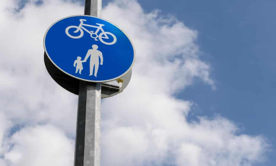 Cyclists give way to pedestrians sign Essex, UK.