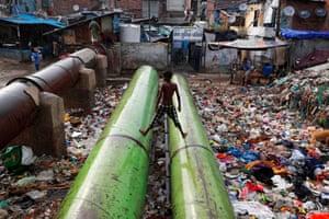 Rubbish in a slum area of Delhi on World Environment Day, 5 June