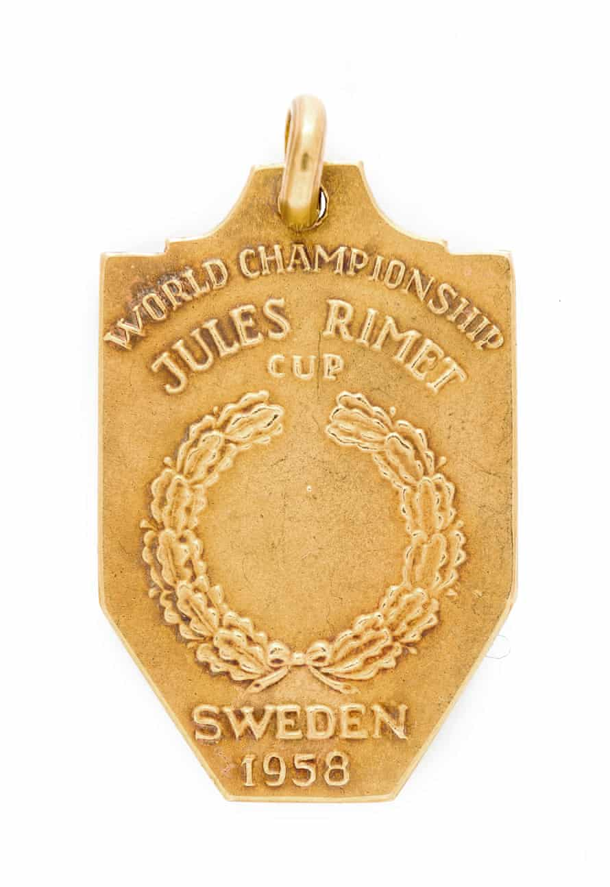 The back of Pelé's World-Cup winning medal from Sweden in 1958