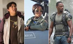 Jacob Batalon in Spider-Man: Homecoming, Lashana Lynch in Captain Marvel and Anthony Mackie in Captain America: Civil War.