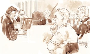 This court sketch made on 24 October 2014 shows Jacobus Marinus 'Mark' van Nierop, a Dutch dentist suspected of mutilating patients, in a court in Amsterdam.