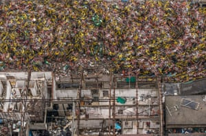 Piles of abandoned shared bikes in Shanghai