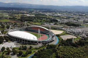 RUGBYU-WC-2019-STADIUMThis aerial view taken on October 1, 2018 shows the Kumamoto stadium, one of the 2019 Rugby World Cup venues, in Kumamoto. (Photo by Behrouz MEHRI / AFP) (Photo credit should read BEHROUZ MEHRI/AFP/Getty Images)