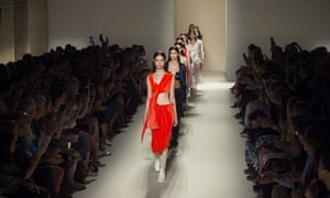 Models present a Victoria Beckham collection during New York fashion week in 2016