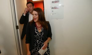 Greens Senator Sarah Hanson-Young in the press gallery speaking on the death of Fazel Chegeni.