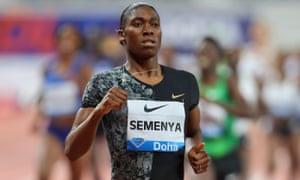 Caster Semenya winning the women's 800m Diamond League race in Doha this month.