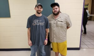 Mike Childress (left) was convinced to come to the shelter by friend Matt Davis (right), rather than ride out the hurricane in their trailer homes.