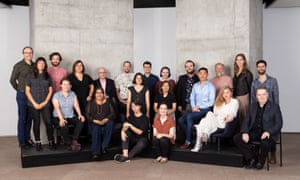 50 Fanfares: Brenda Gifford (front row left) and Georgia Scott (front step right) alongside other recipients of Sydney Symphony Orchestra's commissioning fund
