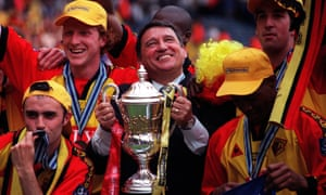 Graham Taylor is all smiles as he and his Watford players celebrate promotion to the Premier League