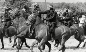 Police horses charge pickets during the 'Battle of Orgreave'