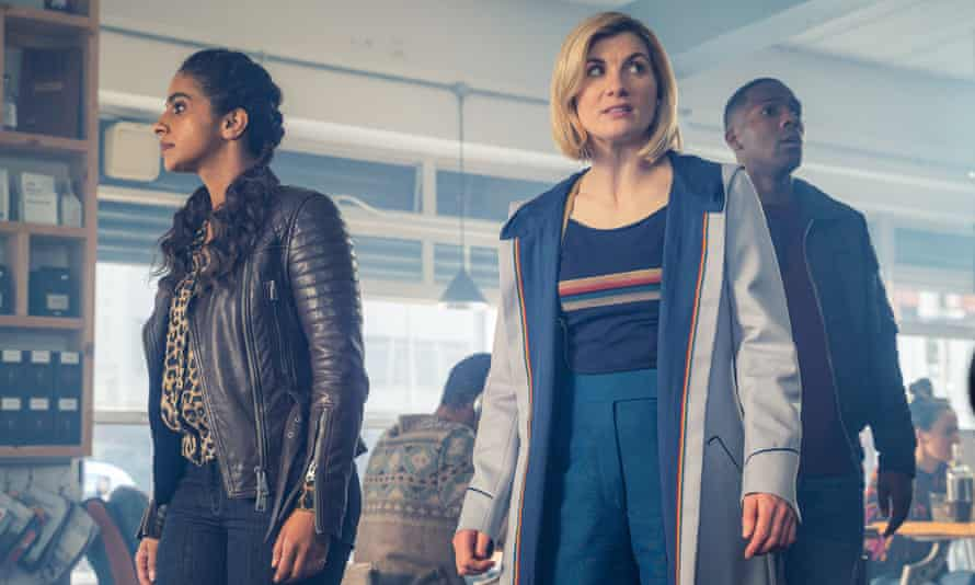Yaz (Mandip Gill), the Doctor (Jodie Whittaker) and Ryan (Tosin Cole) in Doctor Who