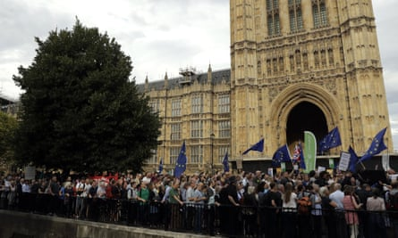 Demonstrators in Westminster on Wednesday after Boris Johnson announced the shutdown of parliament.