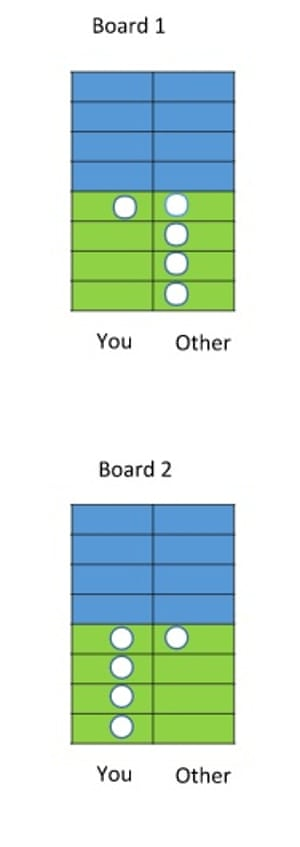 Which side of the board will you choose - green or blue?