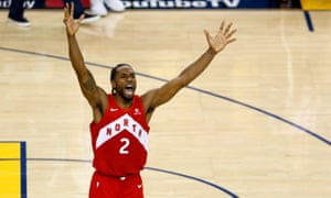 Kawhi Leonard celebrates clinching the Raptors' first title.