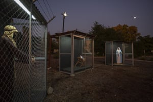 A nativity scene depicts Jesus, Mary and Joseph separated and caged as asylum seekers in Claremont, US