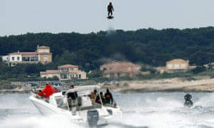 Jet ski champion Franky Zapata hovers in the air as he breaks the Guiness World Records for furthest flight by hoverboard.