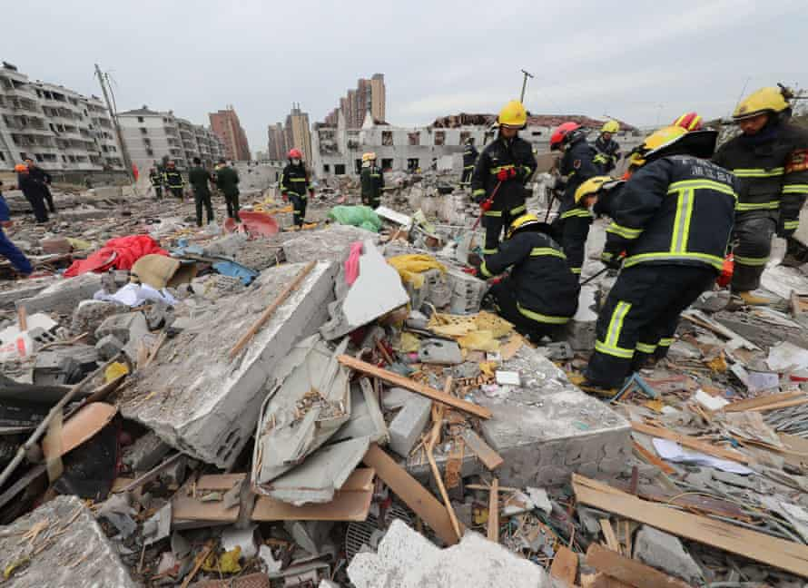 A major explosion hit China's eastern port city of Ningbo sent dozens to hospitals, destroyed vehicles and triggered the collapse of nearby buildings.