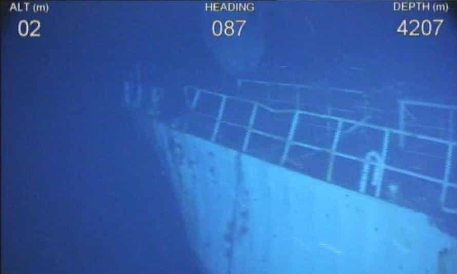 Image of shipwreck in the Indian Ocean captured by search teams investigating the disappearance of Malaysia Airlines flight MH370 and released by Geoscience Australia/