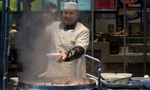 A food stall sells liang pi.