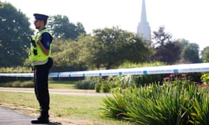 A police officer guards a cordoned off area of Salisbury
