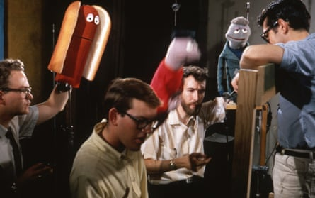 Jerry Juhl, Frank Oz, Jim Henson and Don Sahlin on the set of a Wilson's Meat Company commercial, 1965.