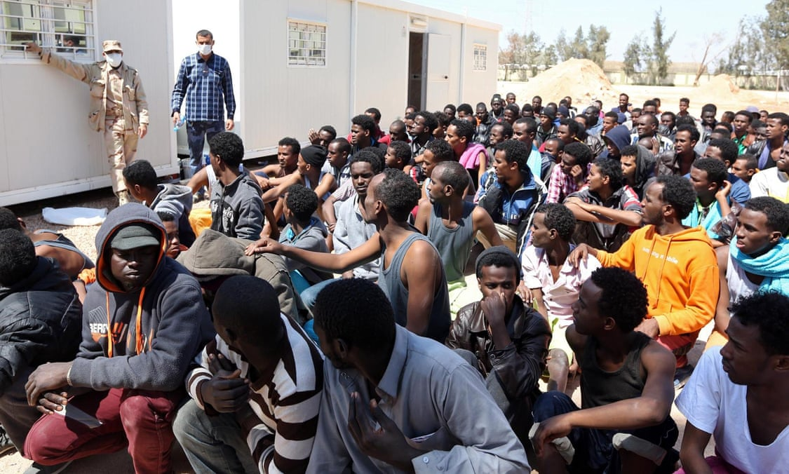 Migrants from sub-Saharan Africa at a detention centre in Misrata, Libya.