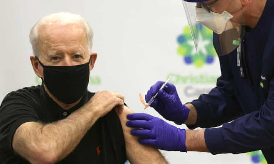 President-elect Joe Biden receives the second dose of a Covid-19 vaccination in Newark, Delaware, earlier this month.