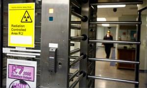 Security turnstile at Heysham nuclear power station in Lancashire