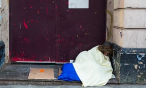 Homeless woman sleeping rough in Birmingham