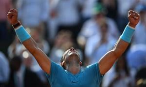 Rafael Nadal celebrates after his straight sets victory over Juan Martin Del Potro .