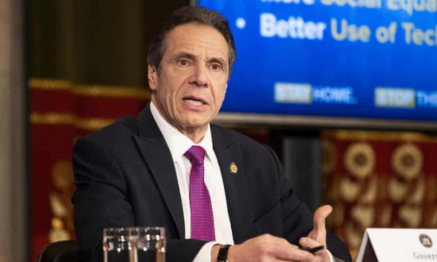 Andrew Cuomo at a press conference in Albany, New York, on 20 April.