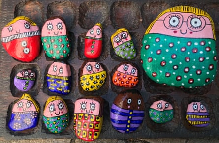 Early years teacher Anna Clow collected stones on her daily walks and painted them to look like the children in her class.