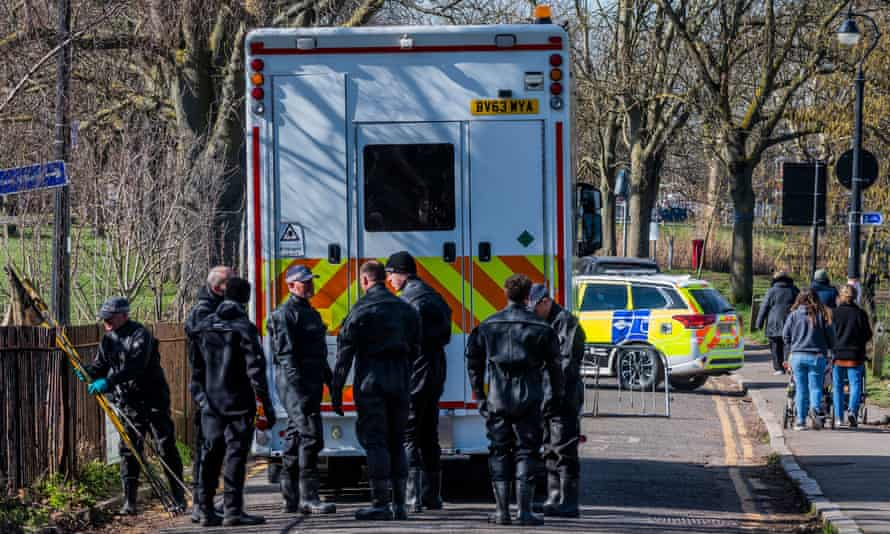 The Met police search Clapham Common after the disappearance of Sarah Everard
