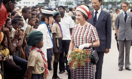 The Queen in Bridgetown during her silver jubilee tour of the Caribbean, 1977.