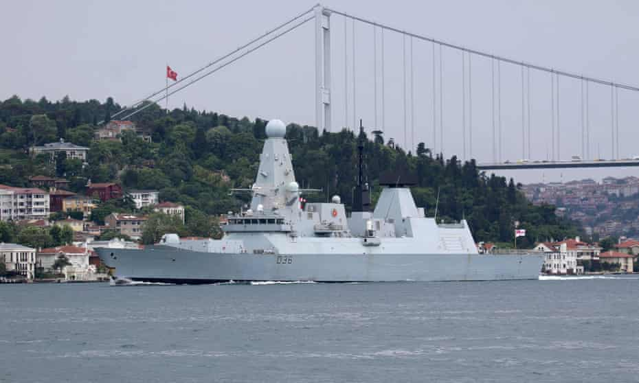 HMS Defender pictured on 14 June in Istanbul on its way to the Black Sea.