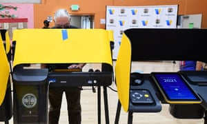 A man casts his vote at the Lincoln Park senior center in Los Angeles, California, ahead of the recall election for Gavin Newsom.