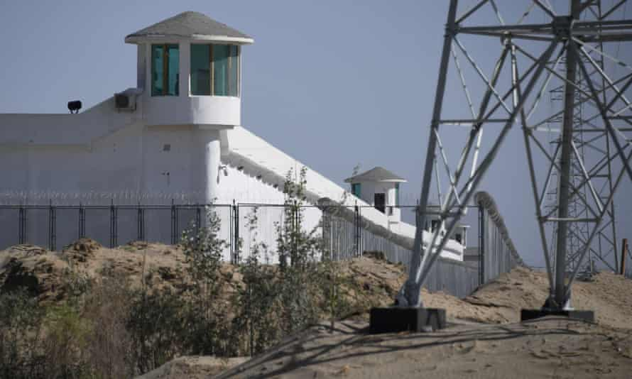 watchtowers on a high-security facility near what is believed to be a re-education camp where mostly Muslim ethnic minorities are detained, on the outskirts of Hotan, in China's northwestern Xinjiang