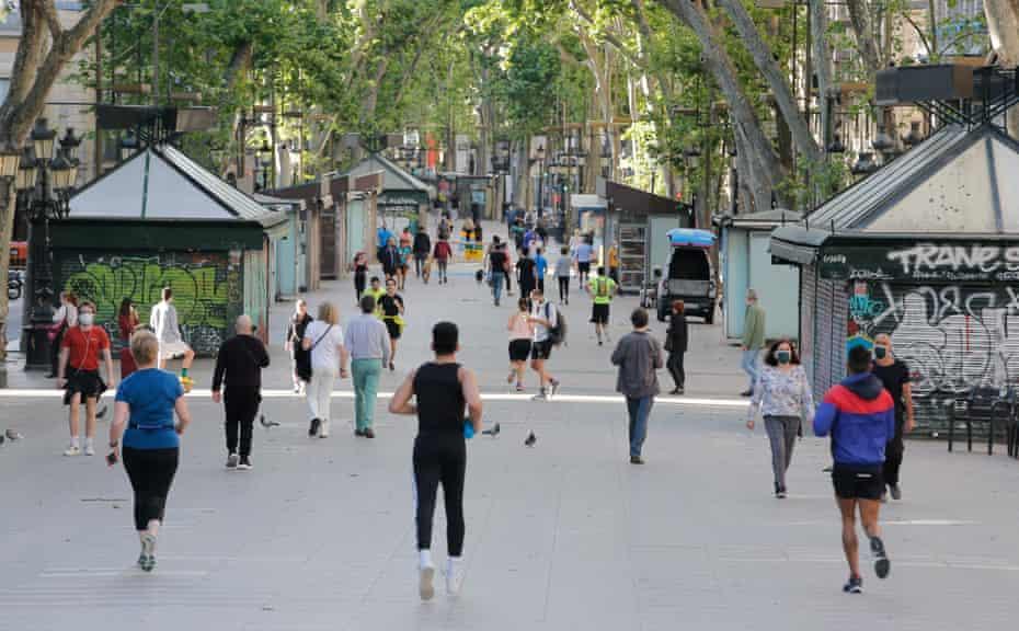 Locals exercising along La Rambla in Barcelona,