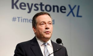 Alberta premier Jason Kenney's government has pledged $5bn in support for the Keystone XL tar sands oil pipeline