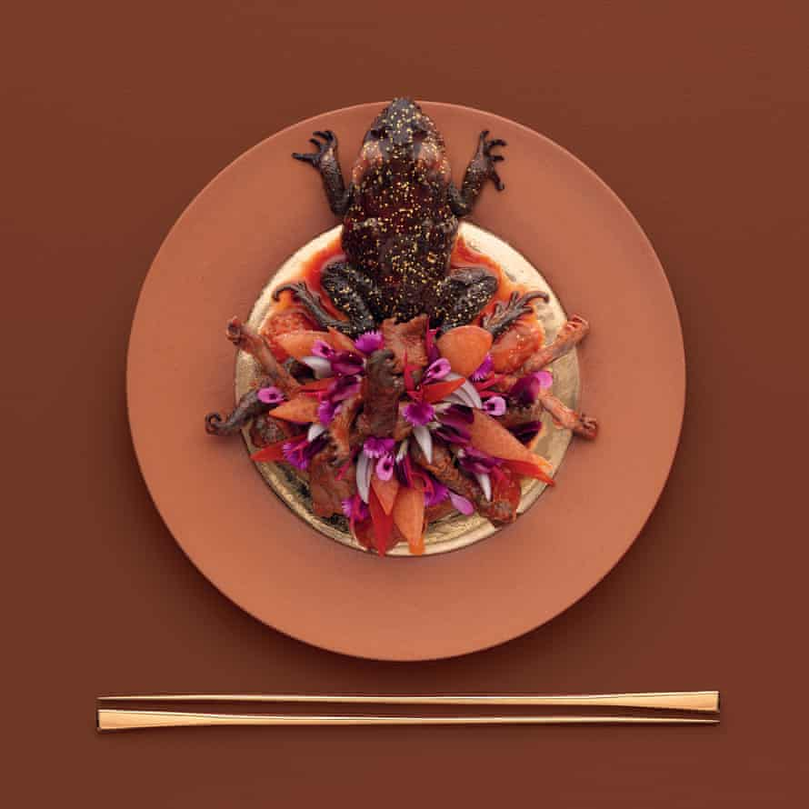 Sweet and sour cane toad legs by David McMahon from Eat the Problem by Kirsha Kaechele (Mona, $277.77, mona.net.au).