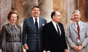 Helmut Schmidt with Margaret Thatcher, Ronald Reagan and Francois Mitterand