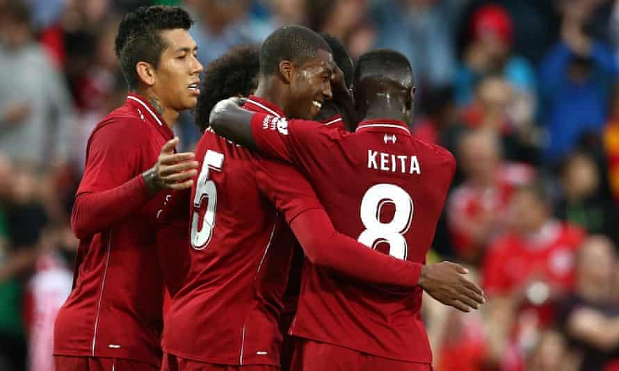Georginio Wijnaldum celebrates his goal during Liverpool's home win over Torino.