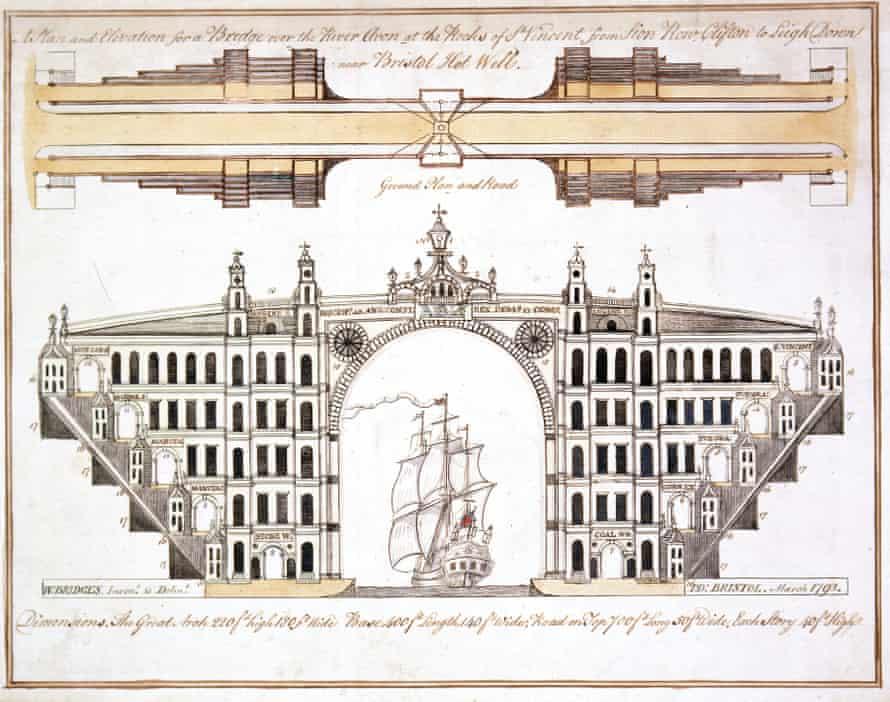 William Bridges' design for a bridge over the Avon at Clifton, Bristol.