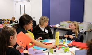 Making a mask with Angela Green at Guardian Education Centre Cartoon and family art day 10 October, 2015.