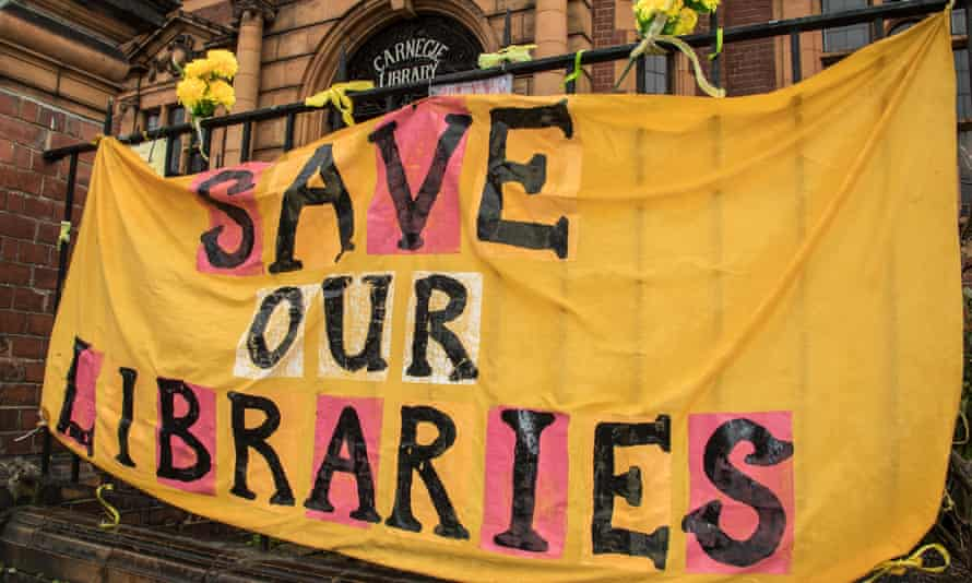 A protest banner outside Carnegie Library, Herne Hill, in south-east London