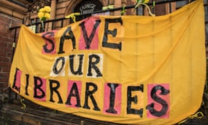 A protest at the Carnegie library in south London