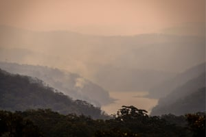 Smoke rises from bushfires in valleys surrounding the Hawkesbury river