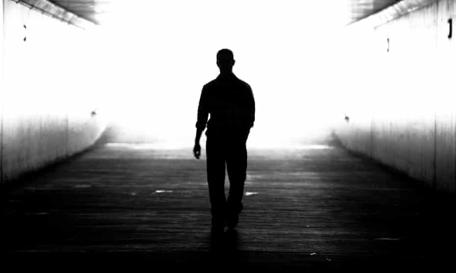 Man's silhouette. Black and white