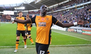 Mohamed Diamé celebrates after his header set Hull City on their way to a 3-0 victory against Middlesbrough.