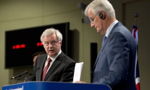 David Davis (left) and Michel Barnier at their press conference in Brussels.